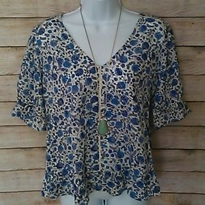 NWT - Lucky Brand V Neck Floral Top